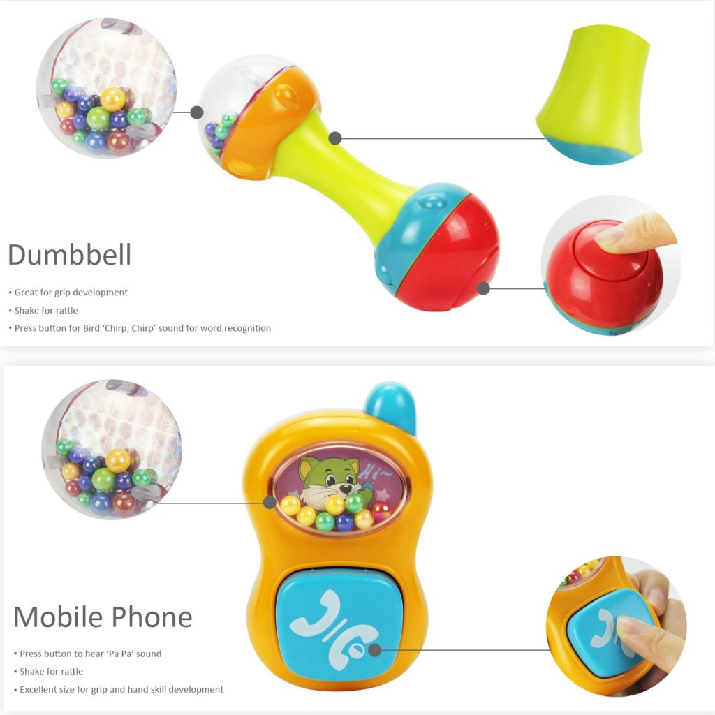 Dumbbell and mobile phone toy